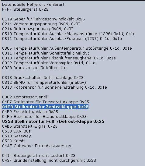 Vw Climatronic Codes